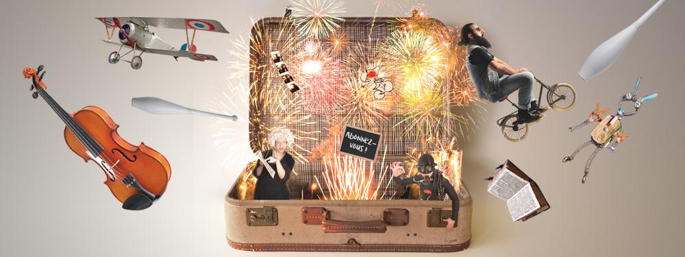 Illustration représentant un violon, un avion, un livre, un quille… sortant d'un valise avec un feu d'artifice