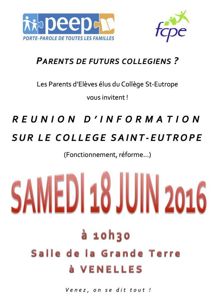 Affiche réunion d'information sur le collège St-Eutrope par les Fédérations des Parents d'Elèves