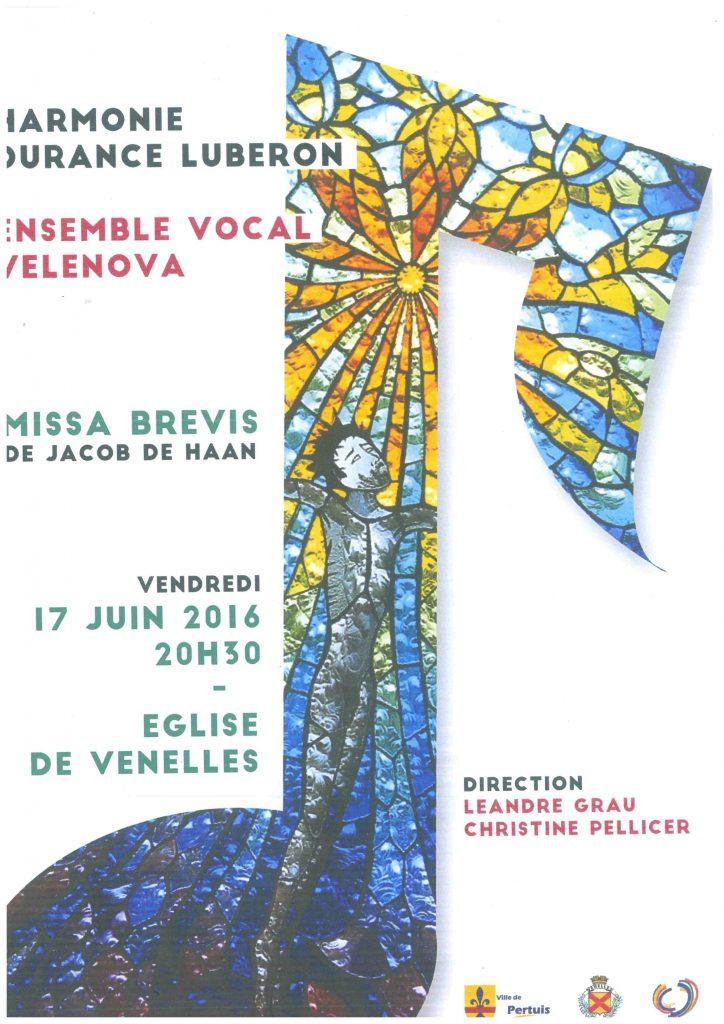 Affiche concert à l'église de Venelles du 17 juin 2016