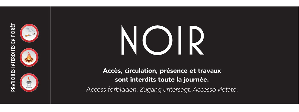 Visuel d'un bandeau noir pour informer de l'interdiction de l'accès aux massifs