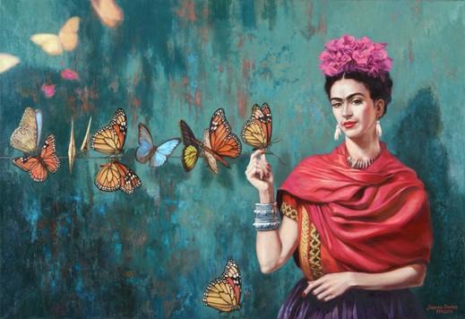 Peinture de papillons qui s'envolent du bout des doigts de Frida Khalo