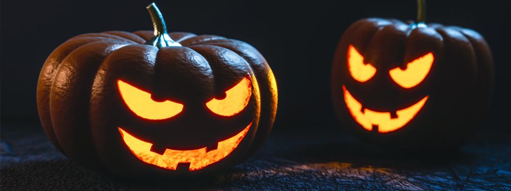 Photo de 2 citrouilles d'halloween