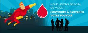Illustration pour le don du sang avec un superhéros volant au secours du sang pour signifier que l'EFS a besoin de vous