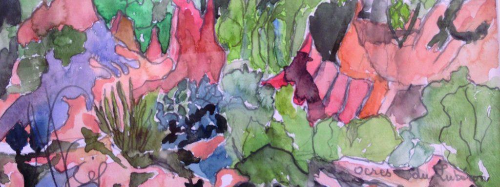 Visuel d'une aquarelle représentant les Ocres du Luberon