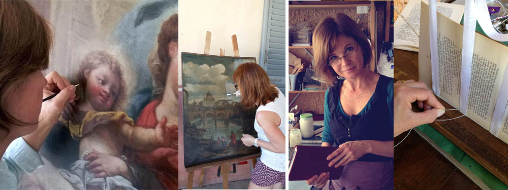 Photo des 2 artistes en train de restaurer une toile et de relier un livre