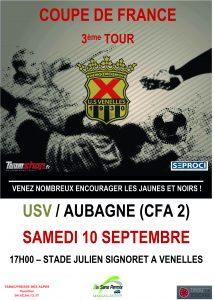 affiche du 3e tour de la Coupe de France de football opposant l'USV à Aubagne