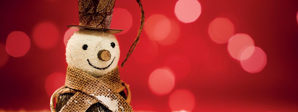 Photo d'un bonhomme de neige composé de mousse et de bois sur un fond rouge scintillant