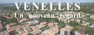 """Visuel de la ville de Venelles vue d'en haut avec écrit """"Venelles, un nouveau regard"""""""