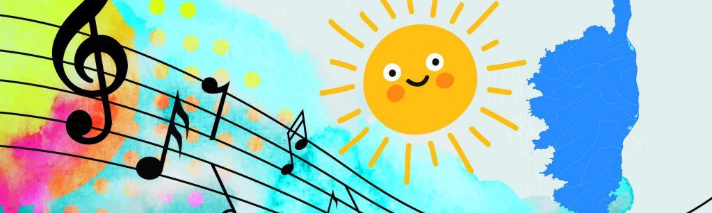 Illustration avec un soleil, une partition de musique, le contour de la corse