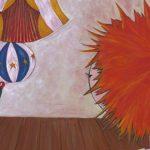 Illustration de l'affiche du festival mon échappée belle représentant un garcon aux cheveux roux de dos regardant un phoque ayant un ballon sur le nez