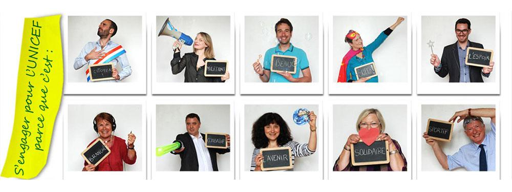 Photo représentant des hommes et des femmes dans des polaroids expliquant pourquoi s'engager pour l'unicef. Parce que c'est : millitant, citoyen, solidaire…