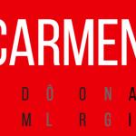 Carmen ecrit en blanc sur un fond rouge