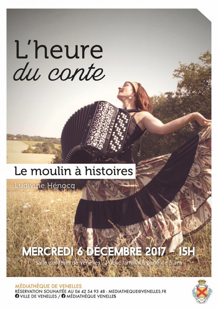 Affiche l'heure du conte montrant une femme avec un accordéon en train de danser dans un champs