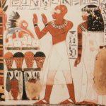 Photo représentant une des peintures murales du tombeau de Toutânkhamon