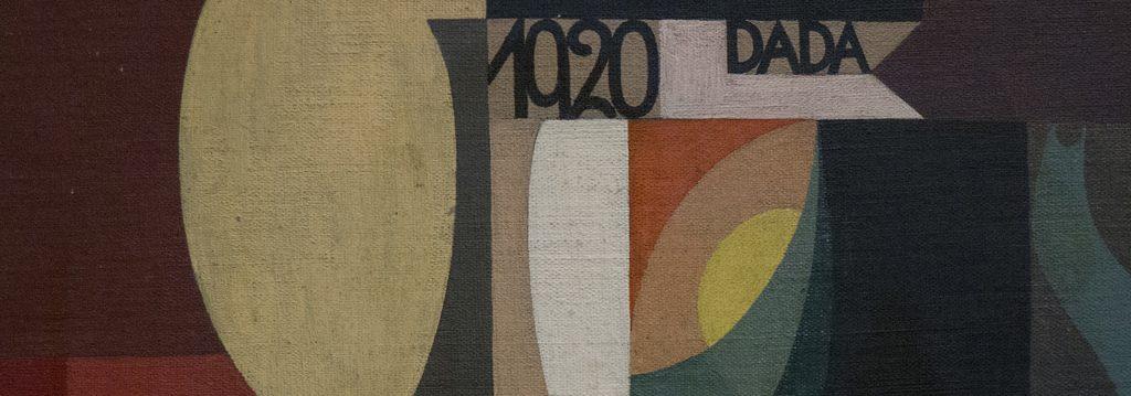 Peinture représentant des lignes, des rectangles et des cercles colorés accompagnés d'un texte 1920 Dada