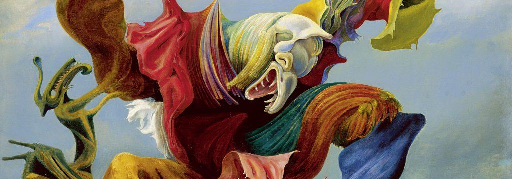 Peinture de Max Ernst représentant un personnage monstrueux, mi-animal mi-humain, qui a les bras levés et dont un de ses pieds est prêt à écraser quelque chose