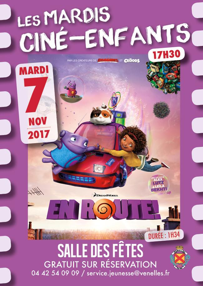 Affiche du ciné enfants du 7 novembre 2017 - En route !
