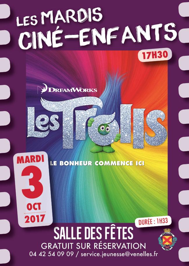 Affiche du ciné enfants du 3 octobre 2017 - les trolls
