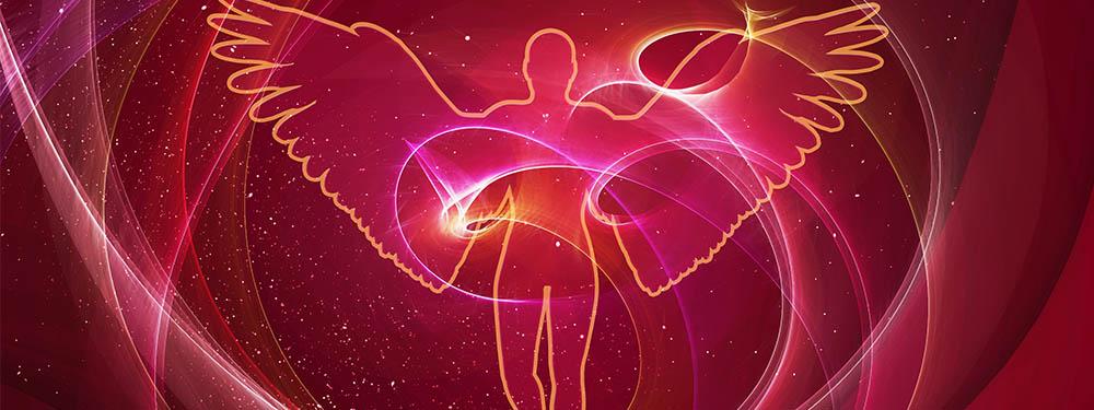 Photo d'une illustration montrant un ange en strait sur un ciel étoilé rouge
