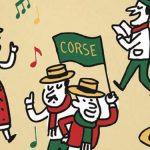 """Illustrations représentant des musiciens portant des drapeaux avec l'inscription """"corse"""" """"usa""""…"""