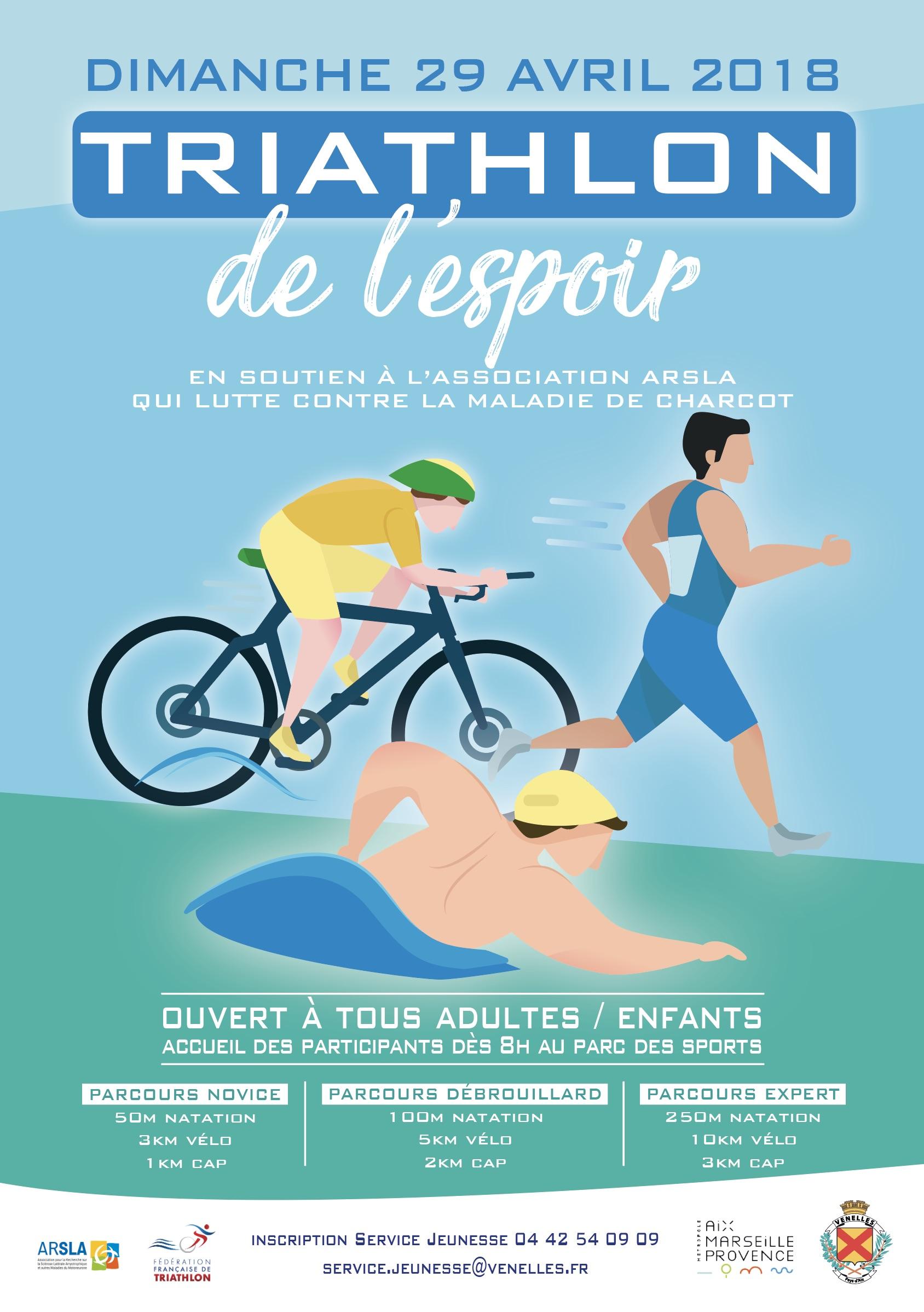 Affiche du triathlon de l'espoir montrant une illustration d'un vététiste, nageur et runneuse