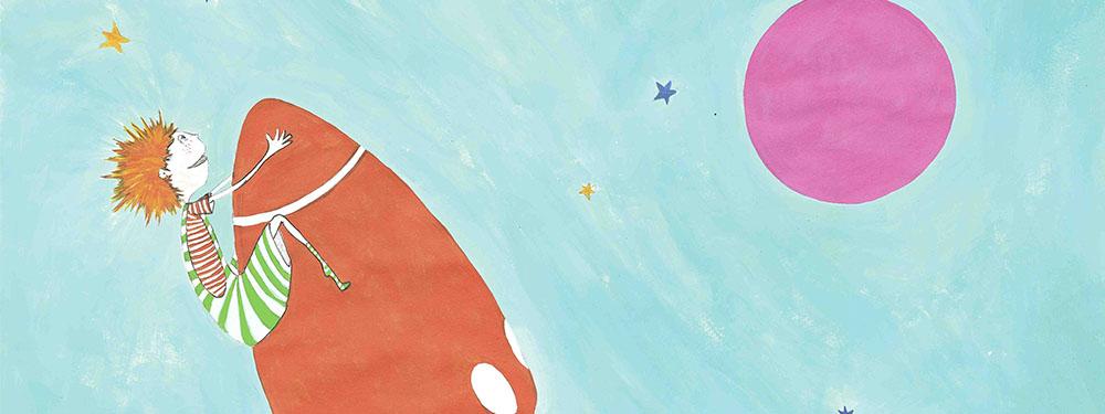 Illustration Mon Echappée Belle montrant la mascotte sur le haut d'une fusée aérienne