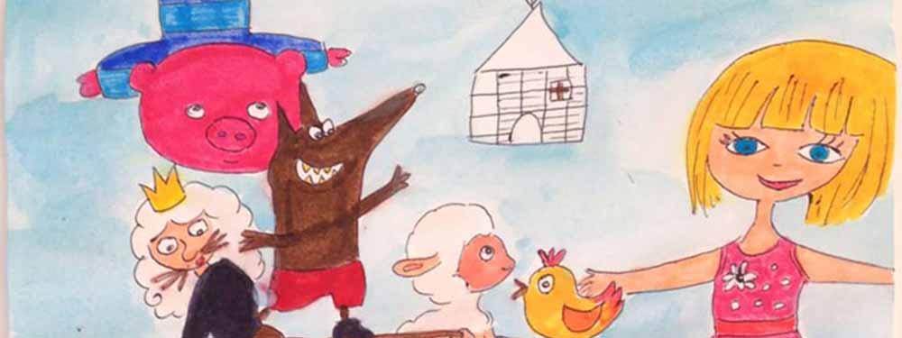 Dessin d'enfant représentant une petite fille blonde, un loup, un cochon, un mouton et un poussin