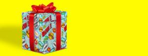 Visuel de la nouvelle saison culturelle montrant une illustration de cadeau sur un fond jaune fluo