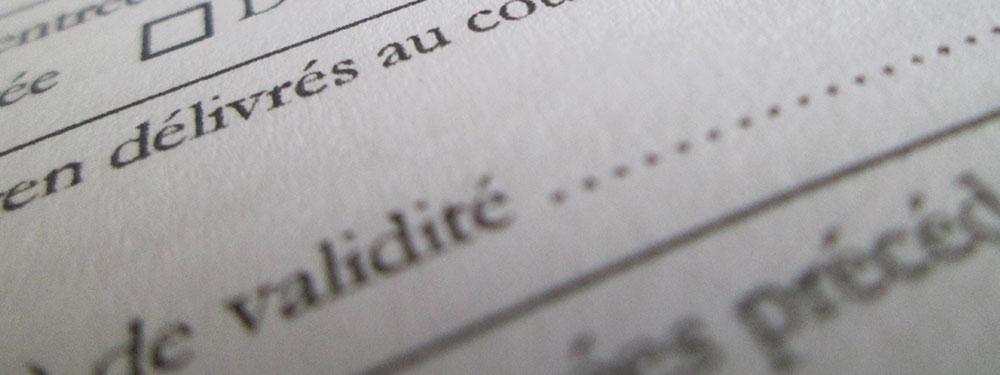 Photo d'un formulaire