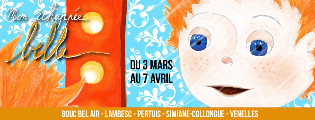 Affiche du festival mon échappée belle avec une illustration représentant un personnage roux aux yeux bleus avec des taches de rousseur qui se regarde dans un miroir de loge et sourit