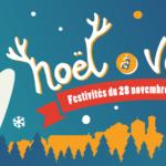 Illustration de Noël à Venelles montrant un ours blanc dans un décor de Noël