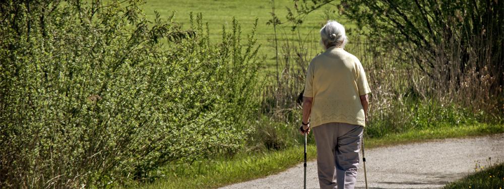 Photo d'une femme âgée marchant sur un sentier