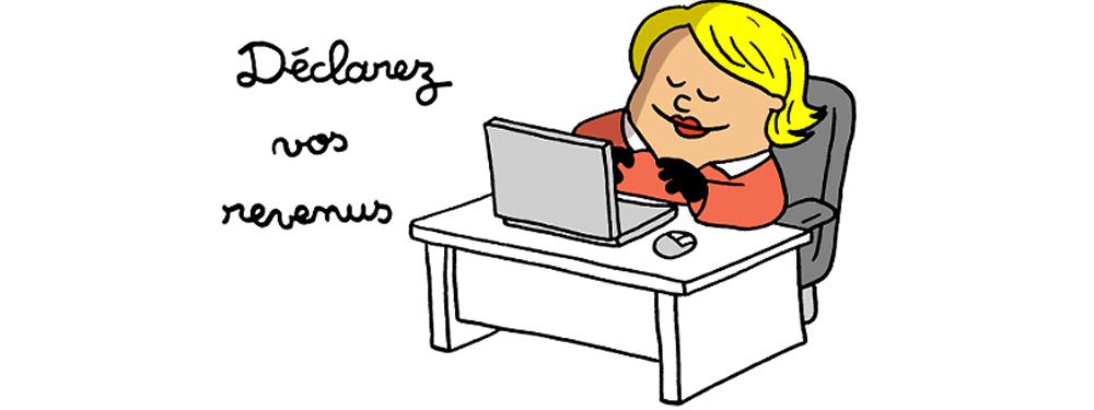 Dessin représentant une femme déclarant ses revenus en ligne