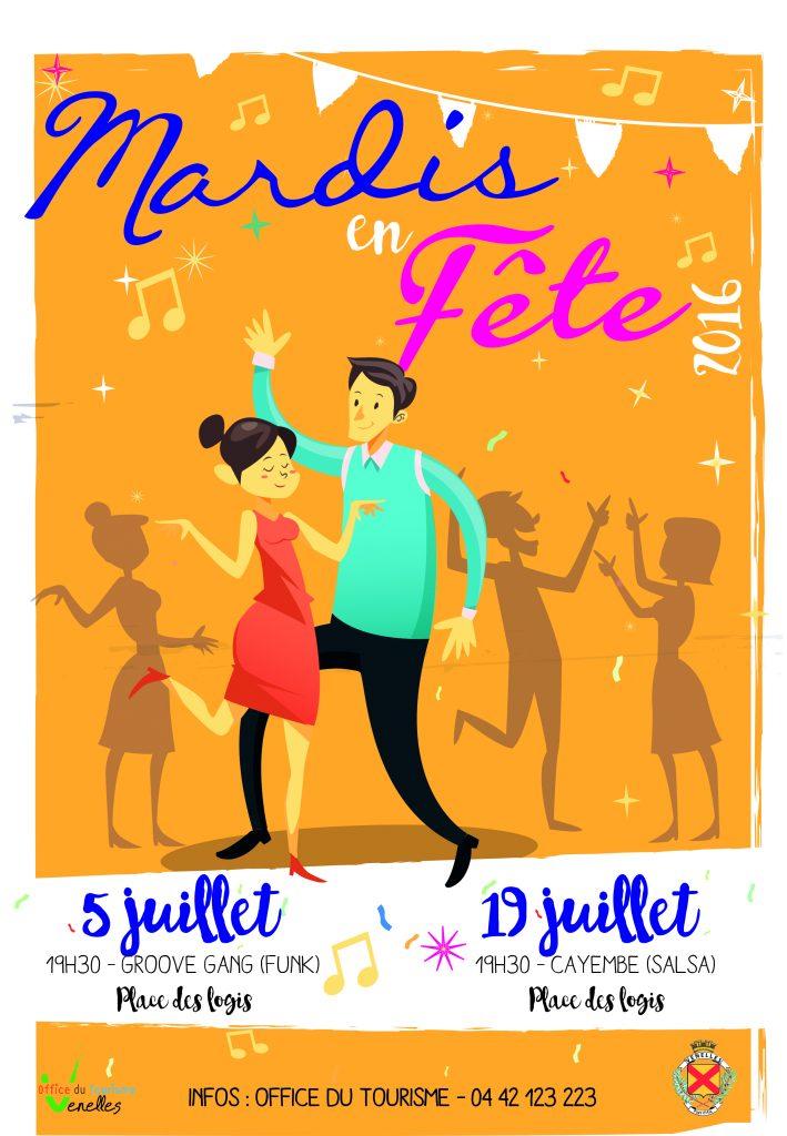 Affiche des soirées Mardis en fête du mois de juillet 2016