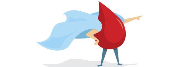 Illustration montrant un bonhomme en goutte de sang avec une cap bras en avant comme Superman
