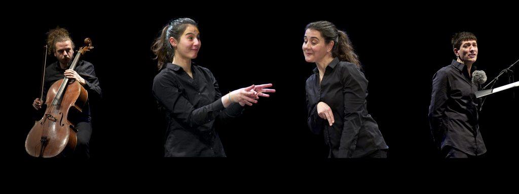 Photo d'un conteur, un contrebassiste et deux signeuses en langue sur scène des signes française