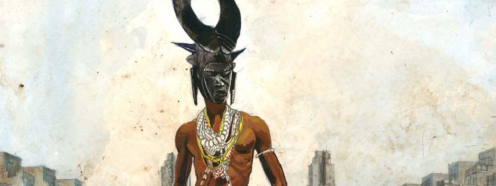 Illustration d'un homme avec un masque vaudou dans les rues d'une grande ville