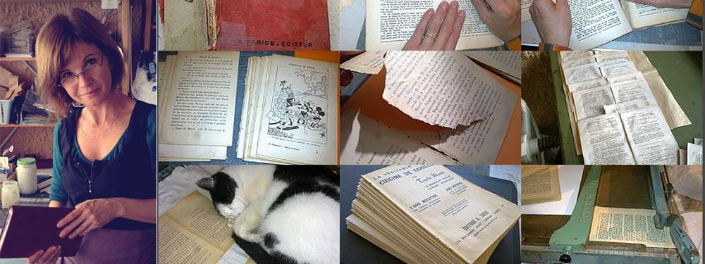 Photos de l'atelier reliure, de livres reliés