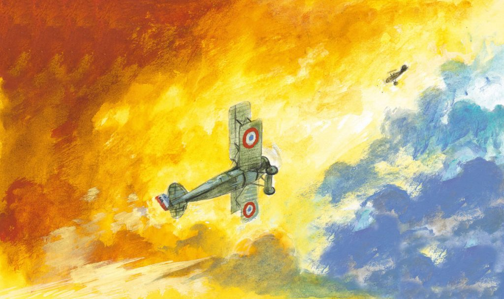 Illustration d'un avion de la première guerre mondiale illustré
