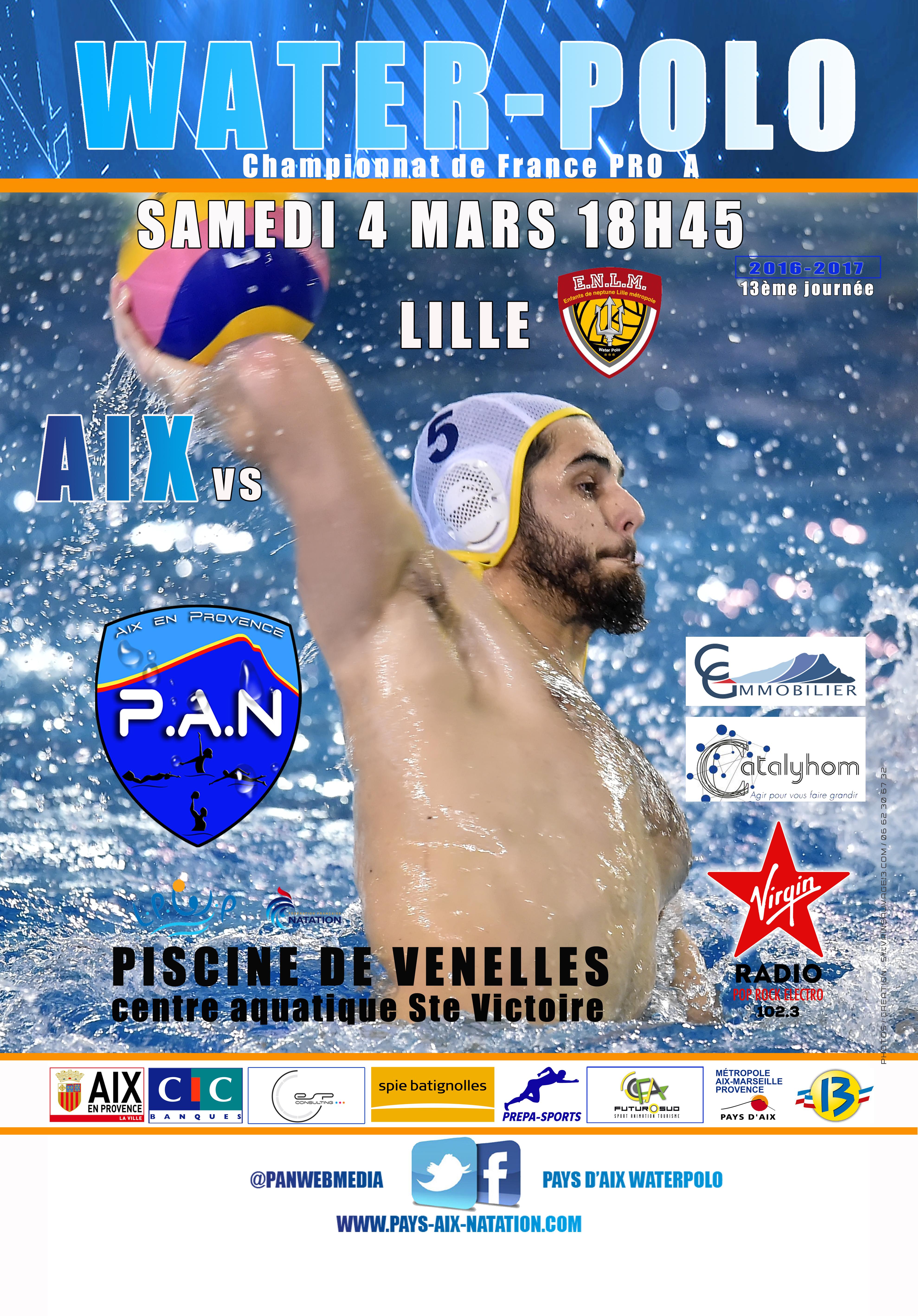 Affiche du match de water polo PAN contre Lilles