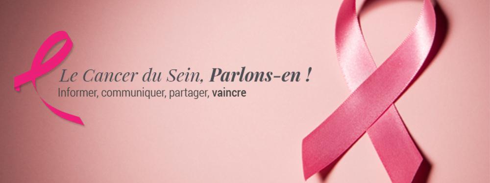 Visuel représentant un ruban entrecroisé pour la lutte contre le cancer avec la baseline du cancer du sein le tout sur fond rose pour marquer octobre rose
