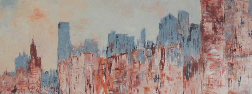 Photo de l'une des oeuvre de Camille Elbaz représentant un paysage de ville dans les ton gris/bleu et rouge/orangé