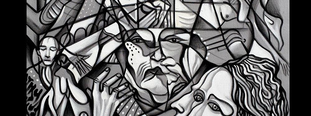 Photo d'une oeuvre d'Angelo Pierlo en noire et blanc formant des visages destructurés