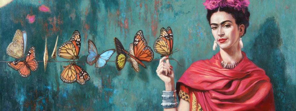 Peinture de papillons qui s'envolent du bout des doigts de Frida Kahlo