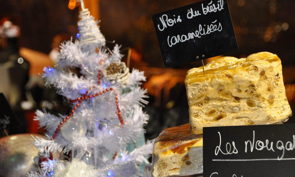 Photo d'un sapin blanc et de nougat au noix du brésil caramélisées