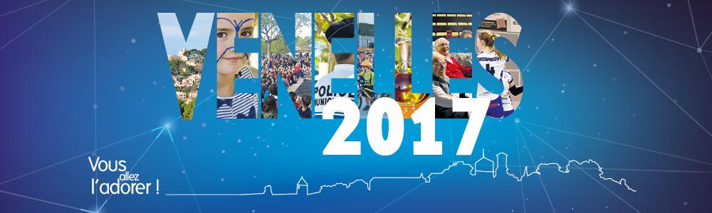 """""""Venelles 2017, vous allez l'adorer"""", chaque lettre de Venelles intègre une photo de la ville, d'enfants, de seniors, de sport, de la police, d'évènements. Tout ce qui fait que Venelles est une ville dynamique !"""