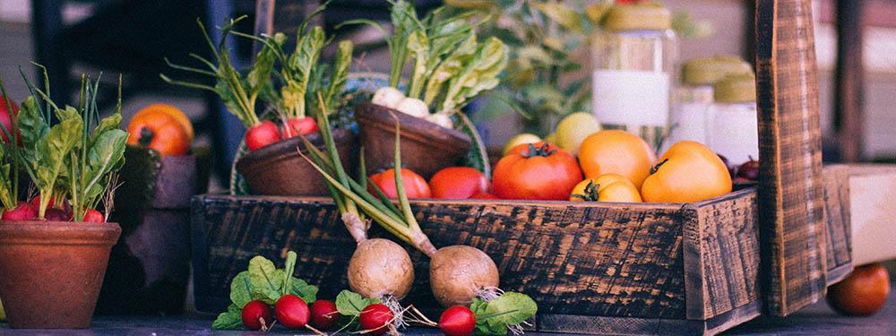 Photo d'un panier de légumes composé de tomates rouges, jaunes, radis… posé sur une table