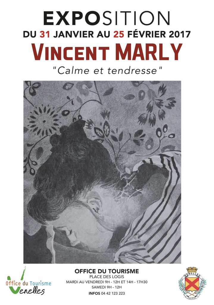 """Affiche de l'exposition Vincent Marly """"Calme et Tendresse"""""""