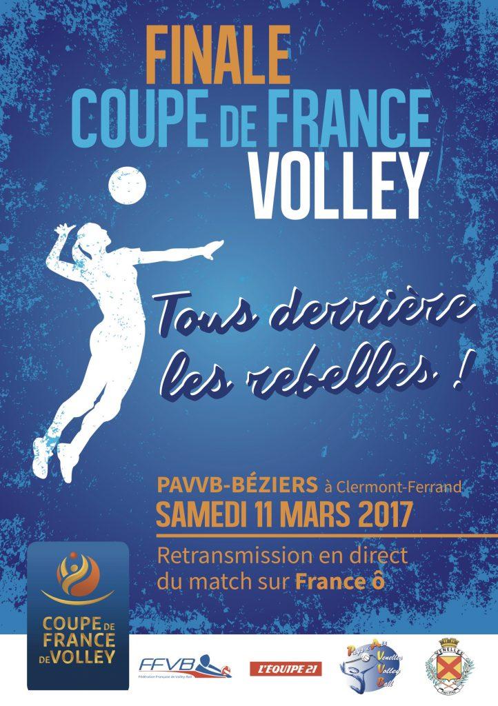 Affiche tous derrière les Rebelles pour la finale de la coupe de France de volley