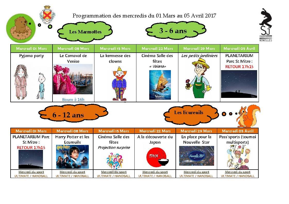 Programmation des mercredis du 1er mars au 5 avril